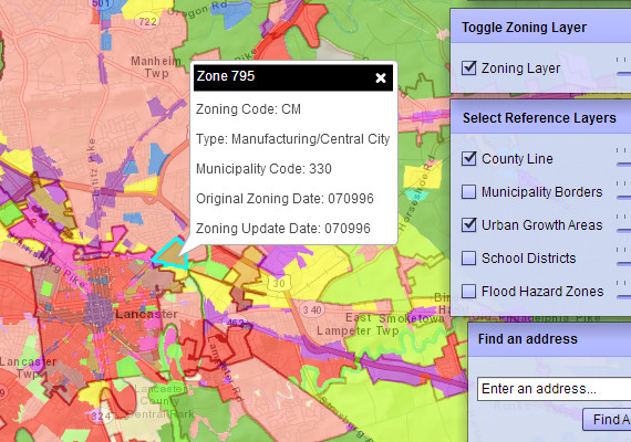 "Searchable web map displaying zoning data and details across Lancaster County, PA written in ArcGIS API for Flex. <a href=""http://sandbox-416863079.us-east-1.elb.amazonaws.com/wes/"" target=""_blank""> Click to Launch.</a> Warning: the current server can be painfully slow."